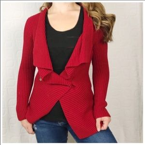 LRL Red Chunky Ribbed Cardigan Sweater PSmall